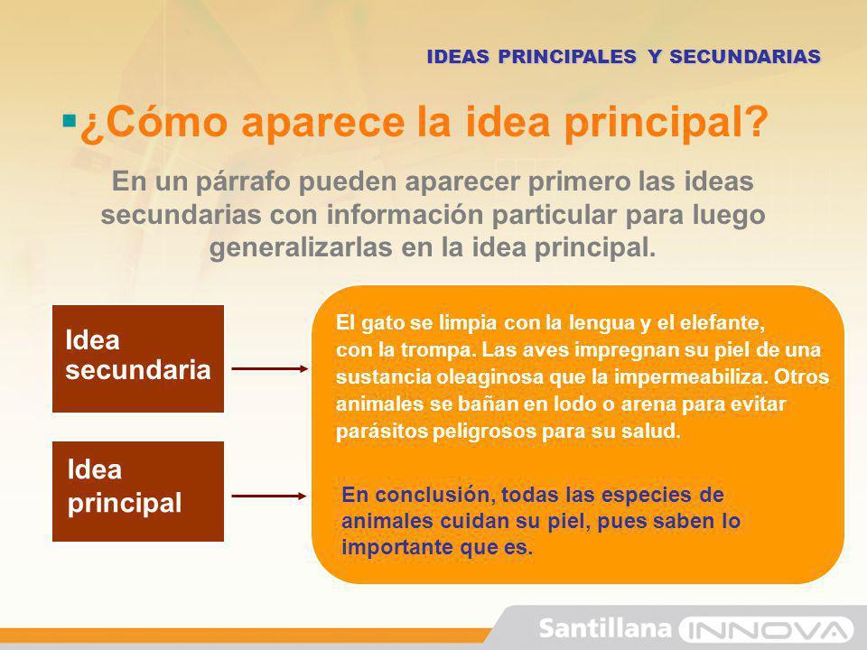¿Cómo aparece la idea principal? En un párrafo pueden aparecer primero las ideas secundarias con información particular para luego generalizarlas en l