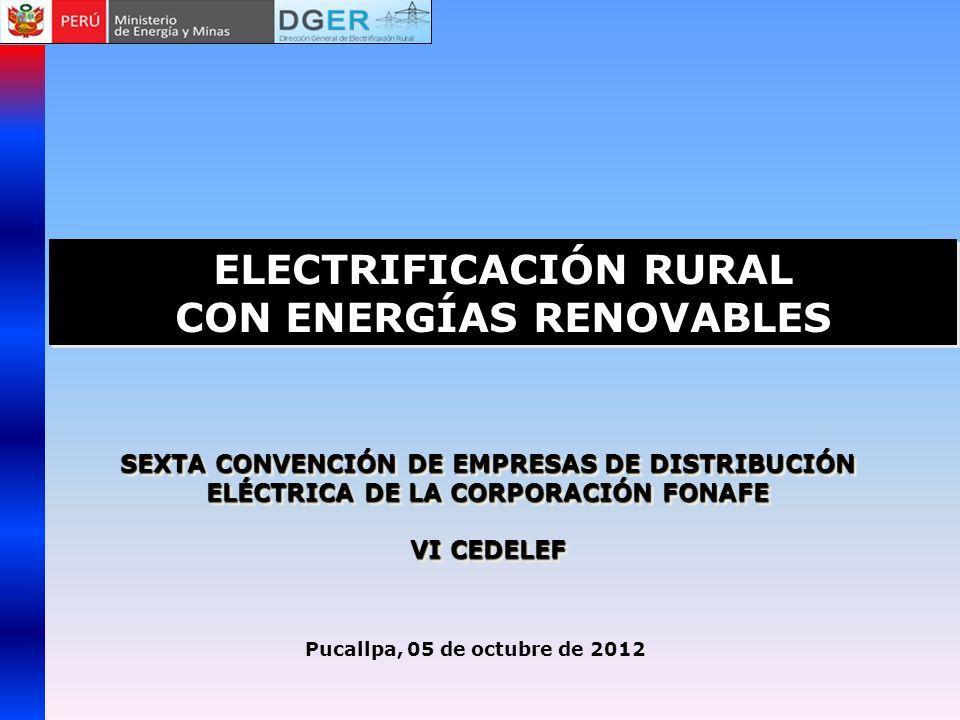 Localización del proyectoCONSULTOREmpresa Distribución Cadenas Productivas UPF Consumo Mwh/año Inversión del Productor Cusco ITDG S&ZElectro Sur Este111,501470828,170 Junín SwisscontactElectro Centro112,3561,071 3,874793 Lima Provincias DESCOADINELSA7904323 886,567 Cusco (ampliación) Practical ActionElectro Sur Este71,9852435,971,000 Junín (ampliación) SwisscontactElectro Centro82,4831,7842,760,000 Arequipa Consorcio Fovida, Copeme, El TallerSEAL102,6101,800867,000 Puno DETECElectro Puno101,5007541,280,000 San Martin/Loreto SwisscontactElectro Oriente51,2936231,596,649 Piura y Tumbes SwisscontactDistriluz - ENOSA81,5661,4481,975,998 Lambayeque/ Cajamarca- Norte DETECDistriluz - ENSA81,5007711,179,000 La Libertad/ Cajamarca - Sur DESCO - Cedepas NorteDistriluz - Hidrandina1118007841,100,000 Ancash SwisscontactDistriluz- Hidrandina121,328252474,189 Ucayali Progreso PanamericanoElectro Ucayali91,1708181,316,328 Lima Provincias (ampliación) DESCOADINELSA6305169400,000 12322,30111,31024,509,694