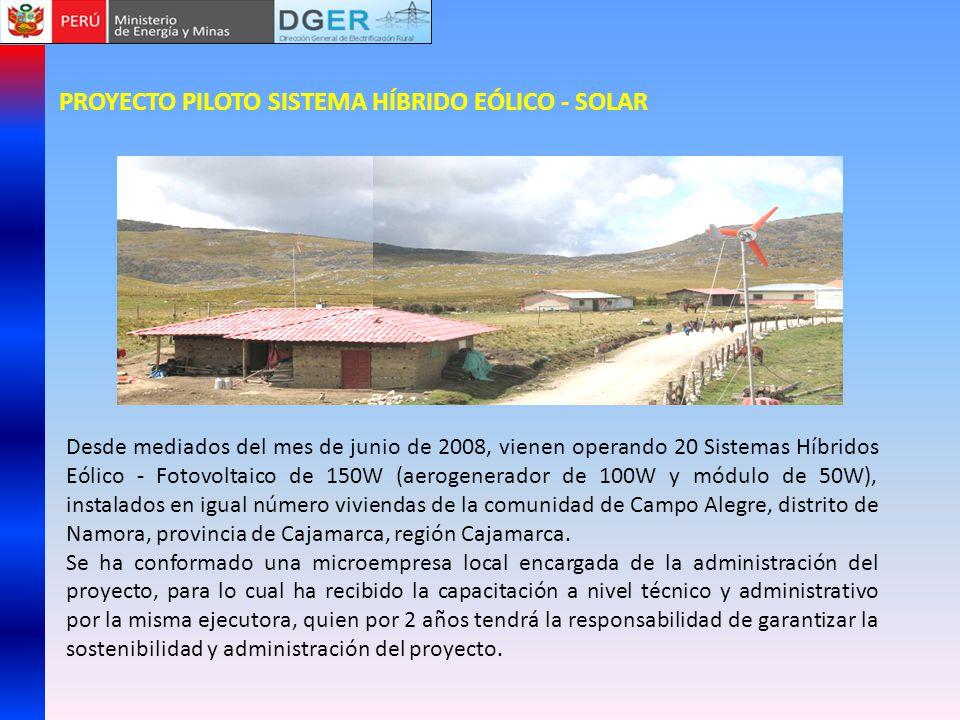 PROYECTO PILOTO SISTEMA HÍBRIDO EÓLICO - SOLAR Desde mediados del mes de junio de 2008, vienen operando 20 Sistemas Híbridos Eólico - Fotovoltaico de