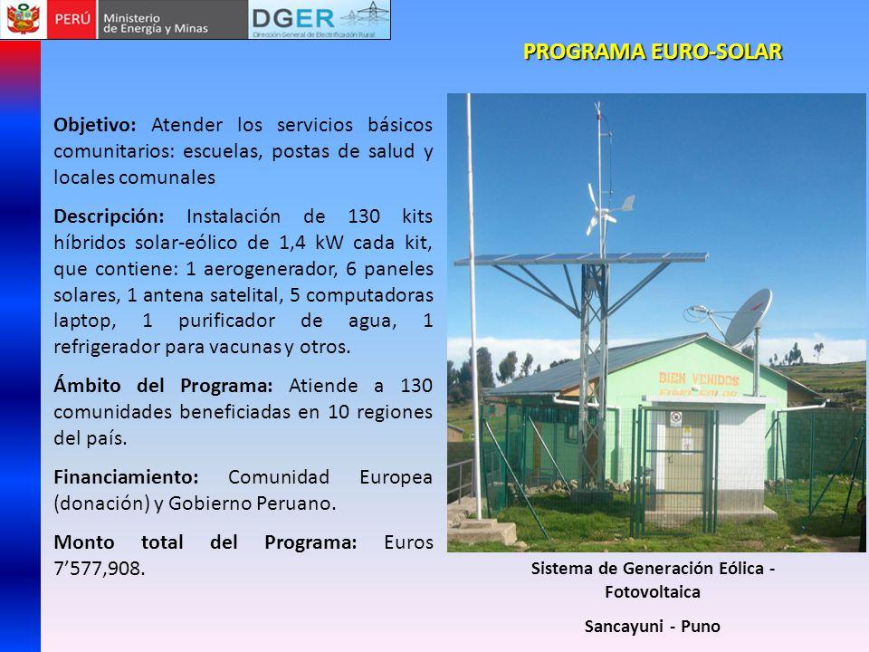 PROGRAMA EURO-SOLAR Objetivo: Atender los servicios básicos comunitarios: escuelas, postas de salud y locales comunales Descripción: Instalación de 13