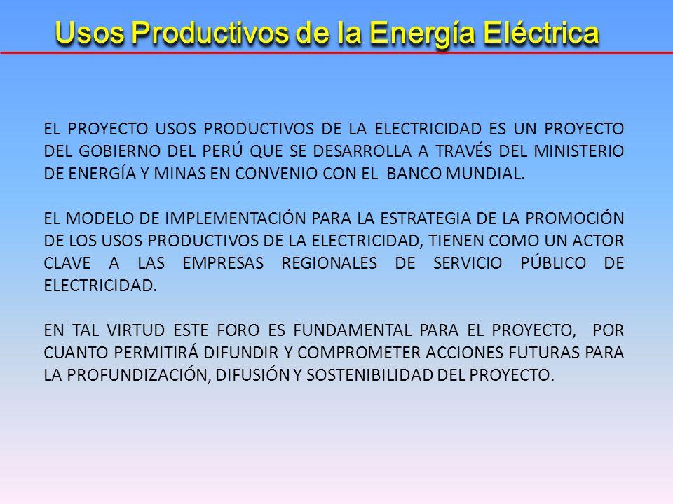 EL PROYECTO USOS PRODUCTIVOS DE LA ELECTRICIDAD ES UN PROYECTO DEL GOBIERNO DEL PERÚ QUE SE DESARROLLA A TRAVÉS DEL MINISTERIO DE ENERGÍA Y MINAS EN C