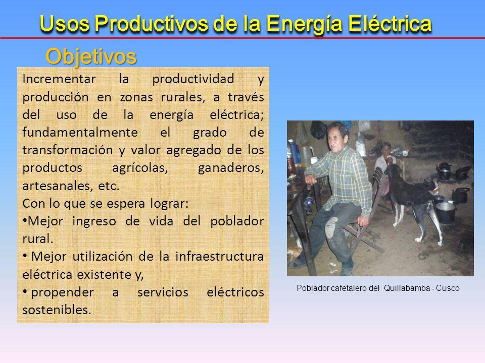 Incrementar la productividad y producción en zonas rurales, a través del uso de la energía eléctrica; fundamentalmente el grado de transformación y va
