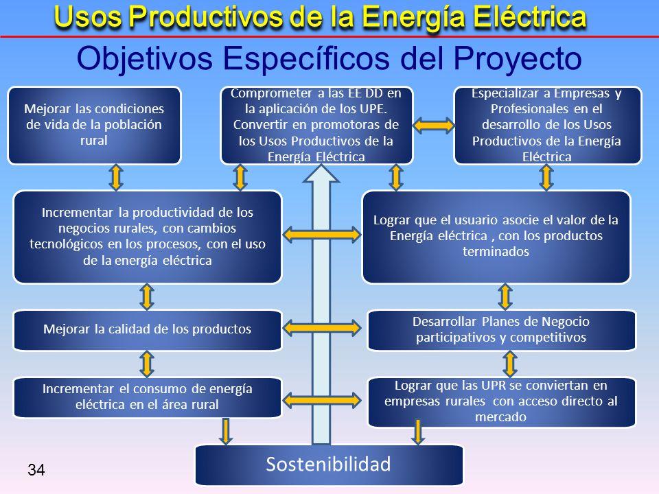 34 Sostenibilidad Incrementar la productividad de los negocios rurales, con cambios tecnológicos en los procesos, con el uso de la energía eléctrica C