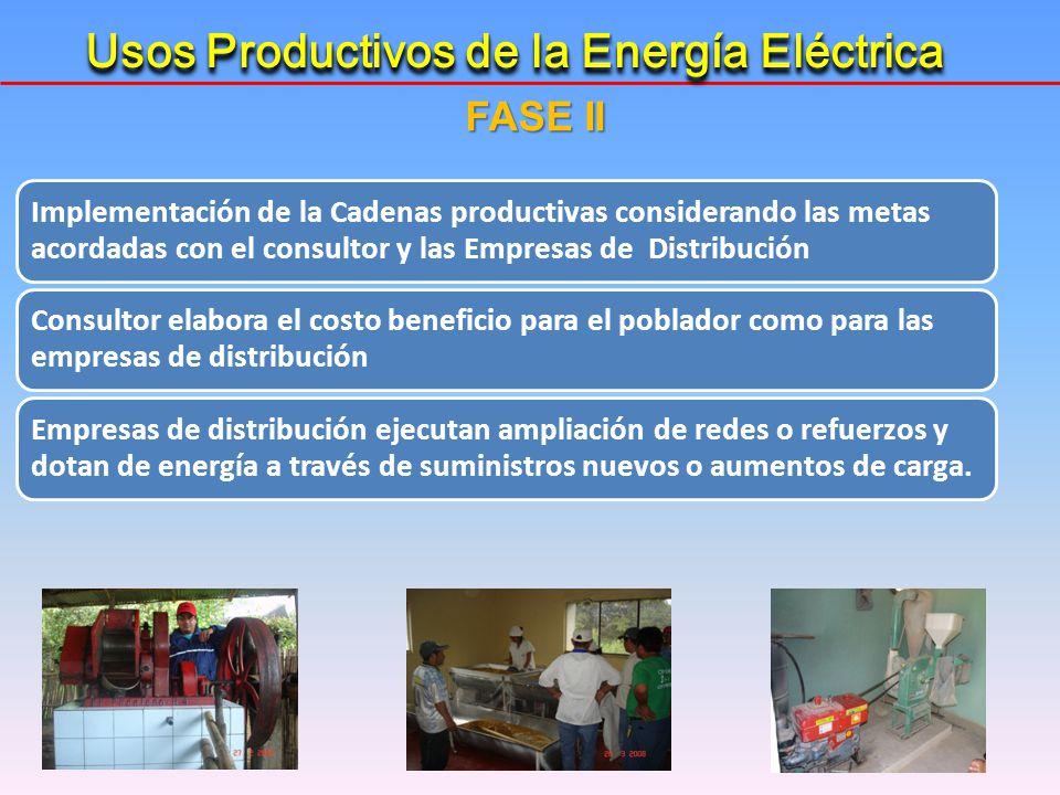 FASE II Implementación de la Cadenas productivas considerando las metas acordadas con el consultor y las Empresas de Distribución Consultor elabora el