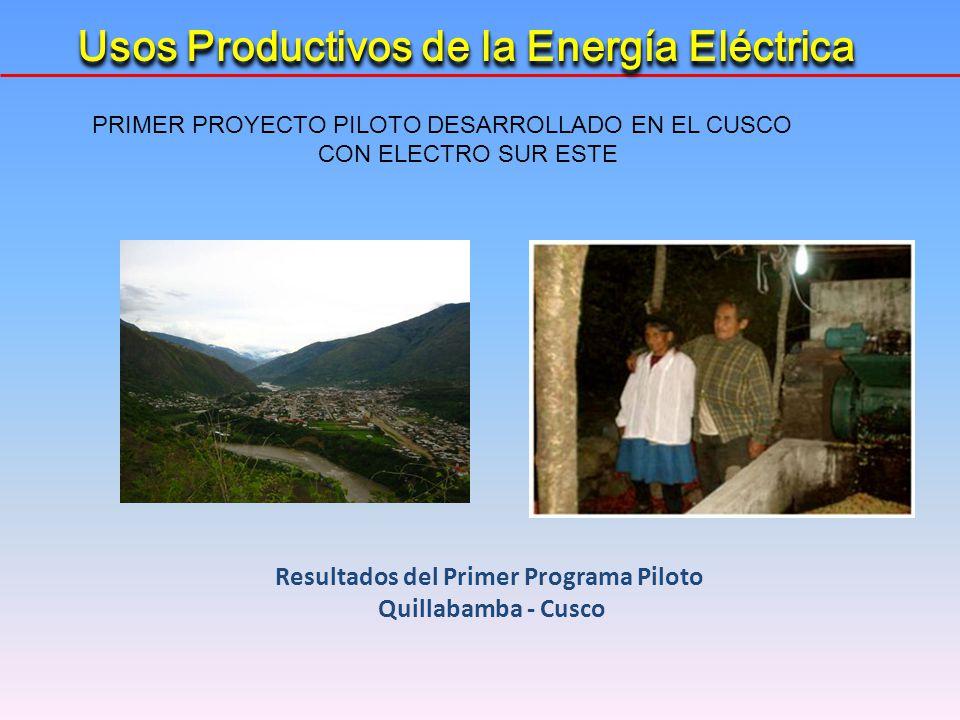 Resultados del Primer Programa Piloto Quillabamba - Cusco Usos Productivos de la Energía Eléctrica PRIMER PROYECTO PILOTO DESARROLLADO EN EL CUSCO CON