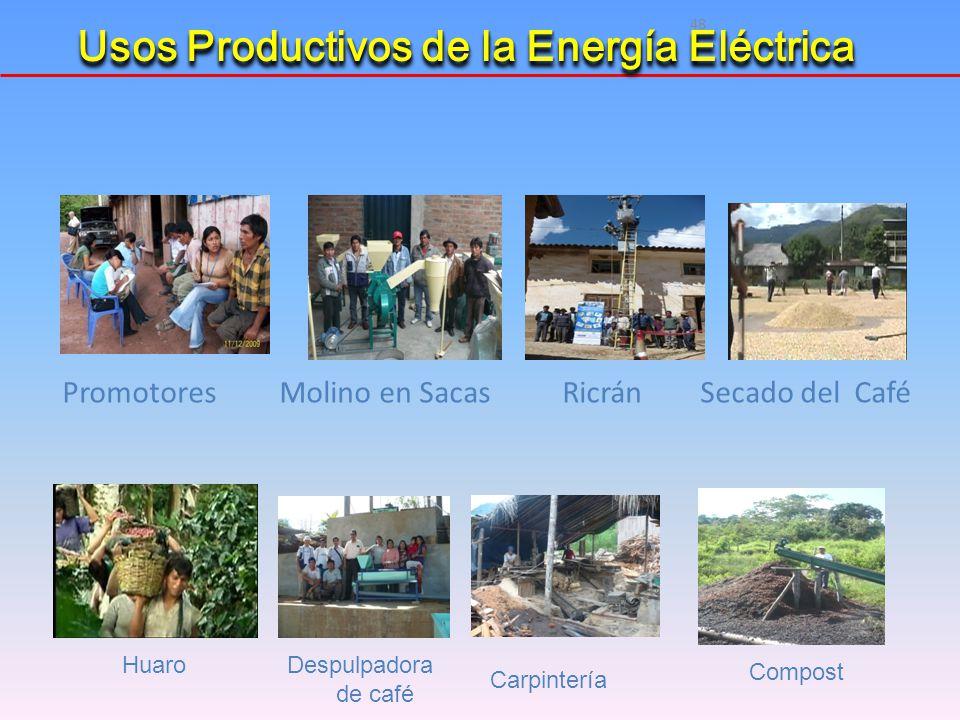 48 Promotores Molino en Sacas Ricrán Secado del Café HuaroDespulpadora de café Carpintería Compost Usos Productivos de la Energía Eléctrica