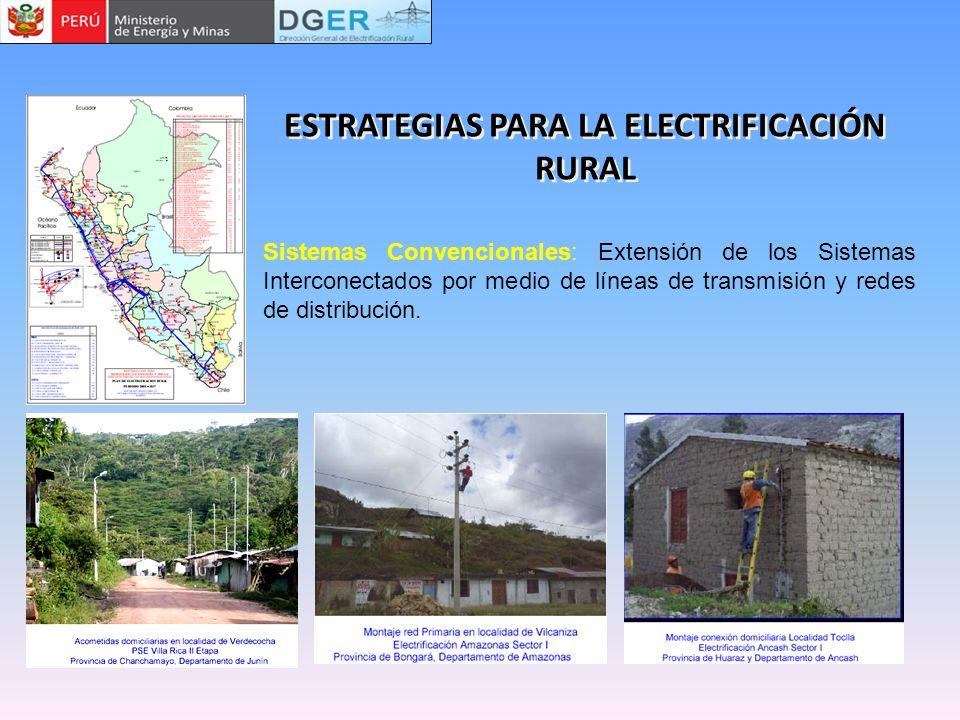 Sistemas Convencionales: Extensión de los Sistemas Interconectados por medio de líneas de transmisión y redes de distribución. ESTRATEGIAS PARA LA ELE
