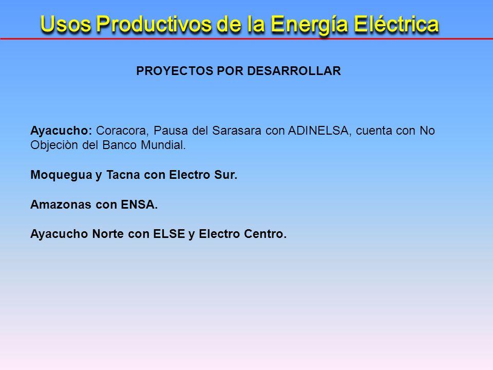 Usos Productivos de la Energía Eléctrica PROYECTOS POR DESARROLLAR Ayacucho: Coracora, Pausa del Sarasara con ADINELSA, cuenta con No Objeciòn del Ban
