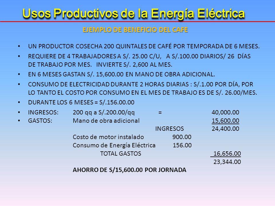 UN PRODUCTOR COSECHA 200 QUINTALES DE CAFÉ POR TEMPORADA DE 6 MESES. REQUIERE DE 4 TRABAJADORES A S/. 25.00 C/U, A S/.100.00 DIARIOS/ 26 DÍAS DE TRABA