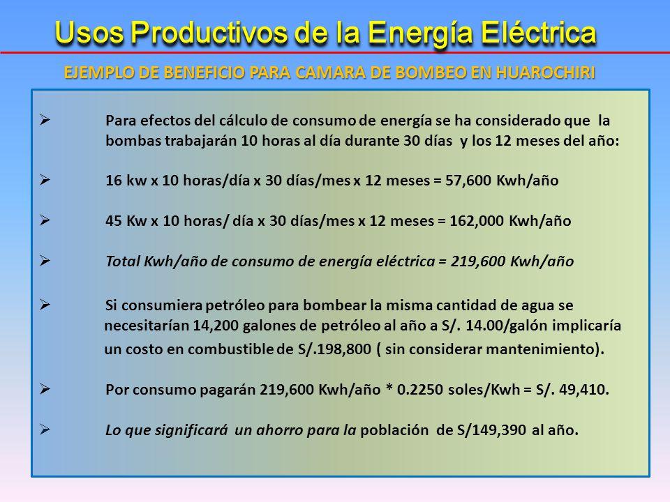 Para efectos del cálculo de consumo de energía se ha considerado que la bombas trabajarán 10 horas al día durante 30 días y los 12 meses del año: 16 k
