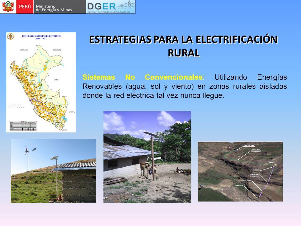 Sistemas No Convencionales: Utilizando Energías Renovables (agua, sol y viento) en zonas rurales aisladas donde la red eléctrica tal vez nunca llegue.