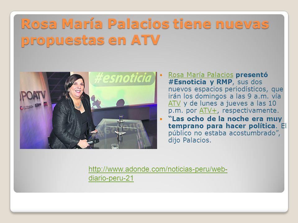 Este domingo Rosa María por ATV desde Chile Callao, 13 nov.