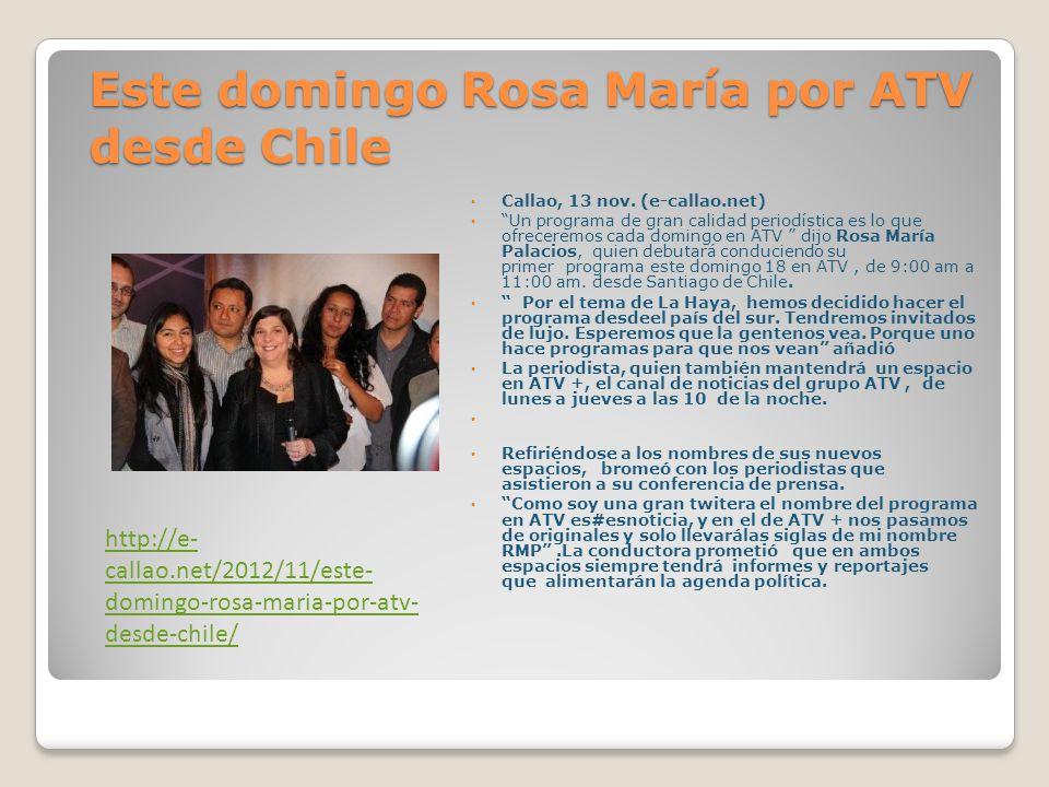 Rosa María Palacios vuelve con doble programa periodístico En conferencia de prensa la conductora y abogada, Rosa María Palacios presento sus dos programas periodísticos que ingresaran a la parrilla del Grupo Atv.