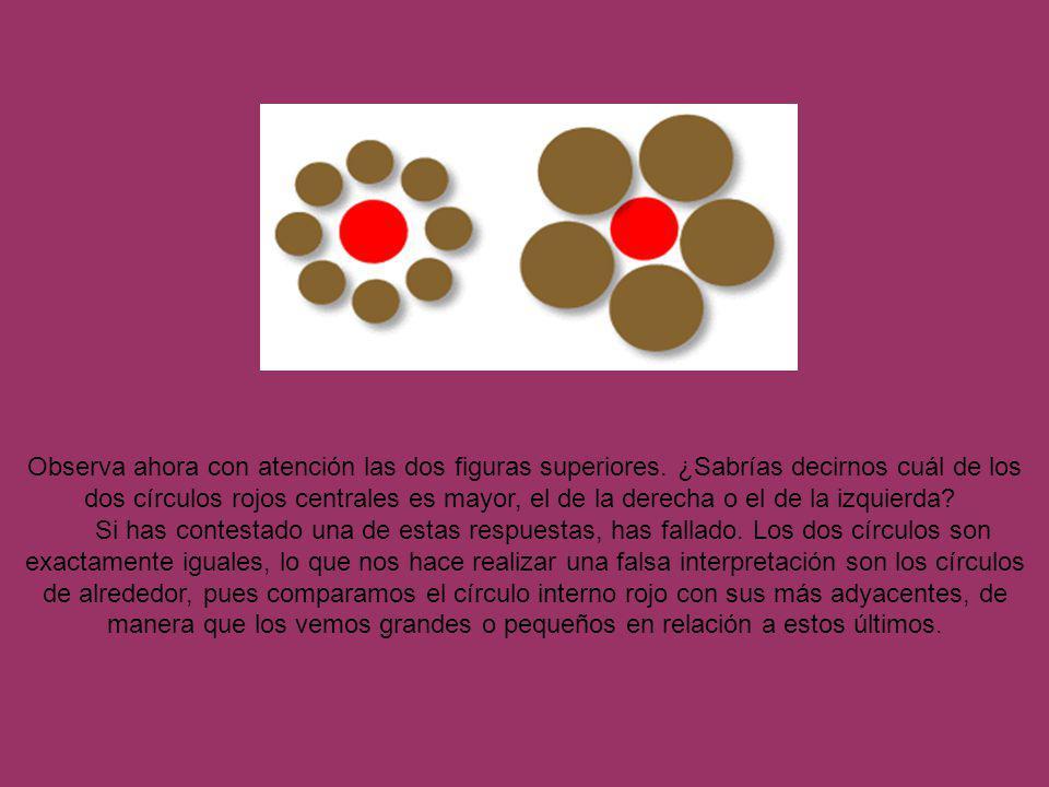 Observa ahora con atención las dos figuras superiores. ¿Sabrías decirnos cuál de los dos círculos rojos centrales es mayor, el de la derecha o el de l