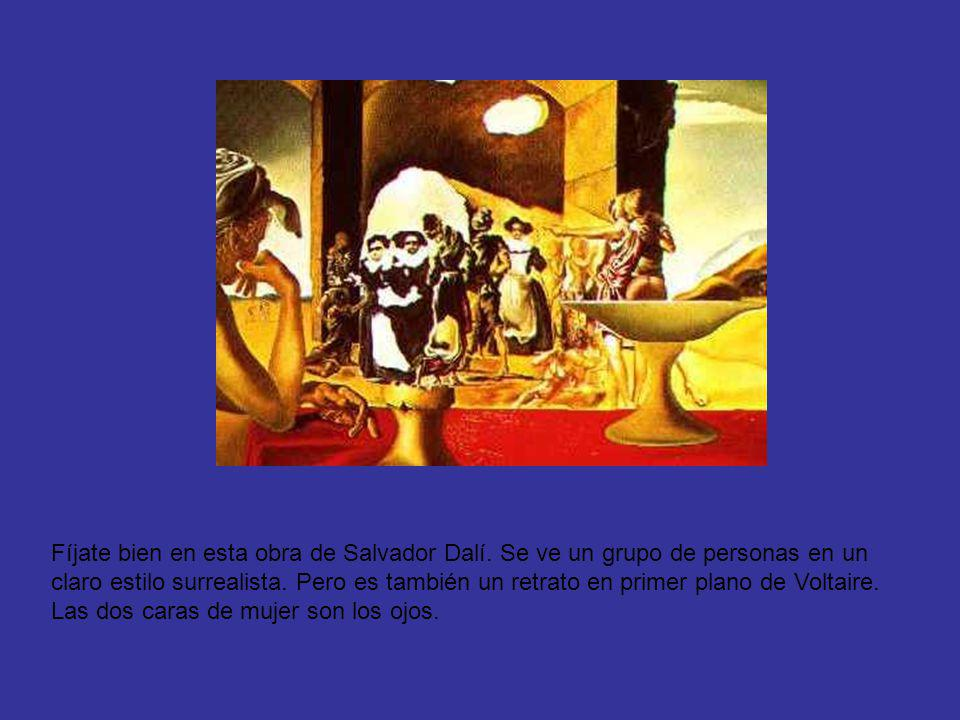 Fíjate bien en esta obra de Salvador Dalí. Se ve un grupo de personas en un claro estilo surrealista. Pero es también un retrato en primer plano de Vo