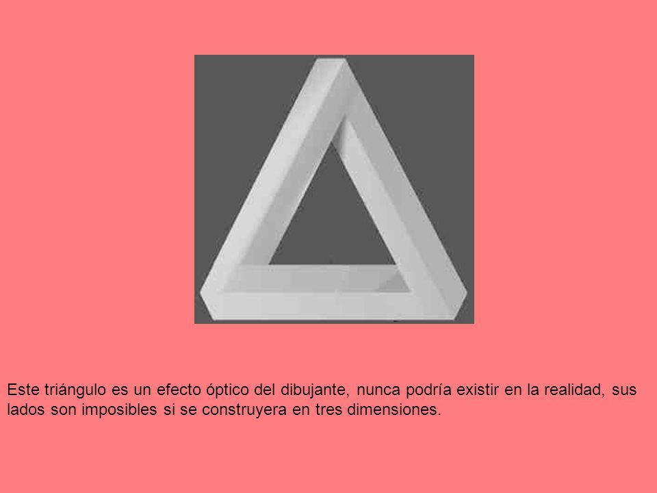 Este triángulo es un efecto óptico del dibujante, nunca podría existir en la realidad, sus lados son imposibles si se construyera en tres dimensiones.