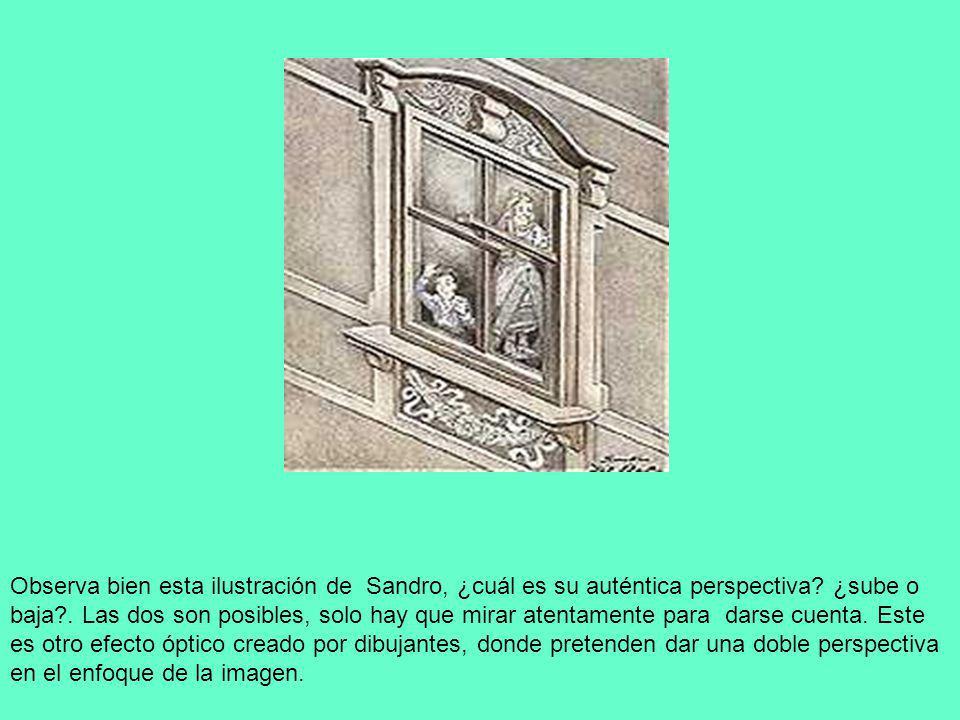 Observa bien esta ilustración de Sandro, ¿cuál es su auténtica perspectiva? ¿sube o baja?. Las dos son posibles, solo hay que mirar atentamente para d