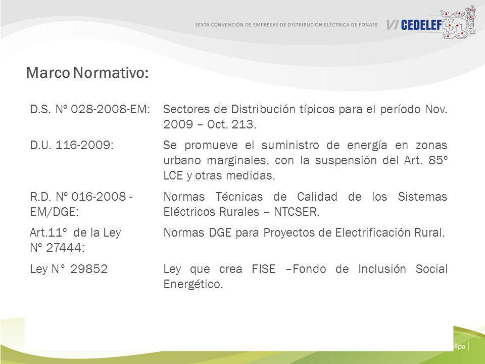 Ley Nº 28749 :Ley General de Electrificación Rural (LGER). D.S. Nº 025-2007-EM:Reglamento de la LGER. Ley Nº 27510:Crea el Fondo de Compensación Socia