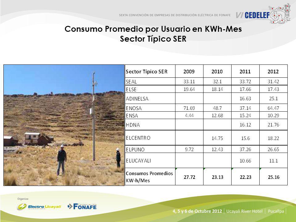 Consumo Promedio por Usuario en KWh-Mes Sector Tìpico 5 Sector Típico 52009201020112012 SEAL37.338.5340.2241.08 ELSE36.2837.0637.7838.44 ADINELSA21.57