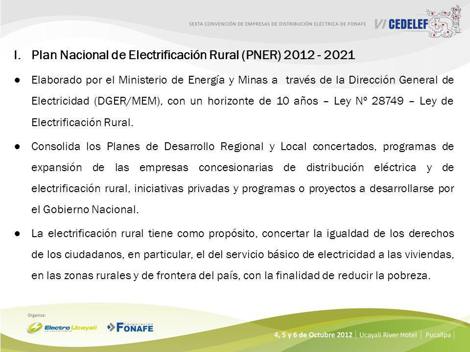 I.Plan Nacional de Electrificación Rural (PNER) 2012 - 2021 Elaborado por el Ministerio de Energía y Minas a través de la Dirección General de Electricidad (DGER/MEM), con un horizonte de 10 años – Ley Nº 28749 – Ley de Electrificación Rural.