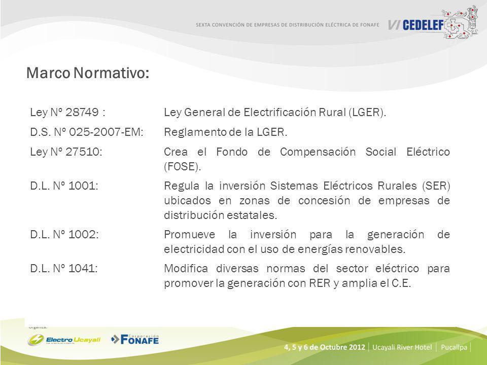 Ley Nº 28749 :Ley General de Electrificación Rural (LGER).