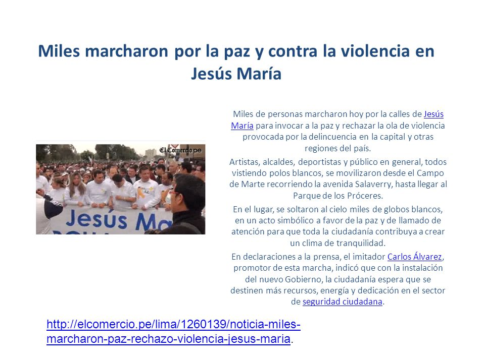 Miles marcharon por la paz y contra la violencia en Jesús María Miles de personas marcharon hoy por la calles de Jesús María para invocar a la paz y r