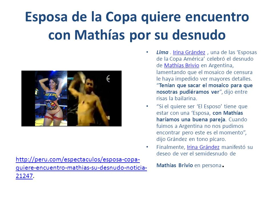 Esposa de la Copa quiere encuentro con Mathías por su desnudo Lima.