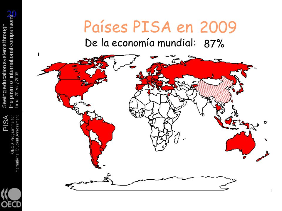 PISA OECD Programme for International Student Assessment Seeing education systems through the prism of international comparisons Lima, 20 May 2009 1998 Países PISA en2000 2001 2003 20062009 De la economía mundial: 77%81% 83% 85%86%87%