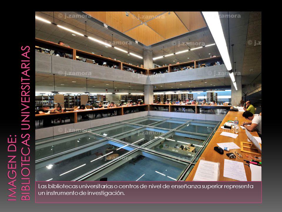 Las bibliotecas universitarias o centros de nivel de enseñanza superior representa un instrumento de investigación.