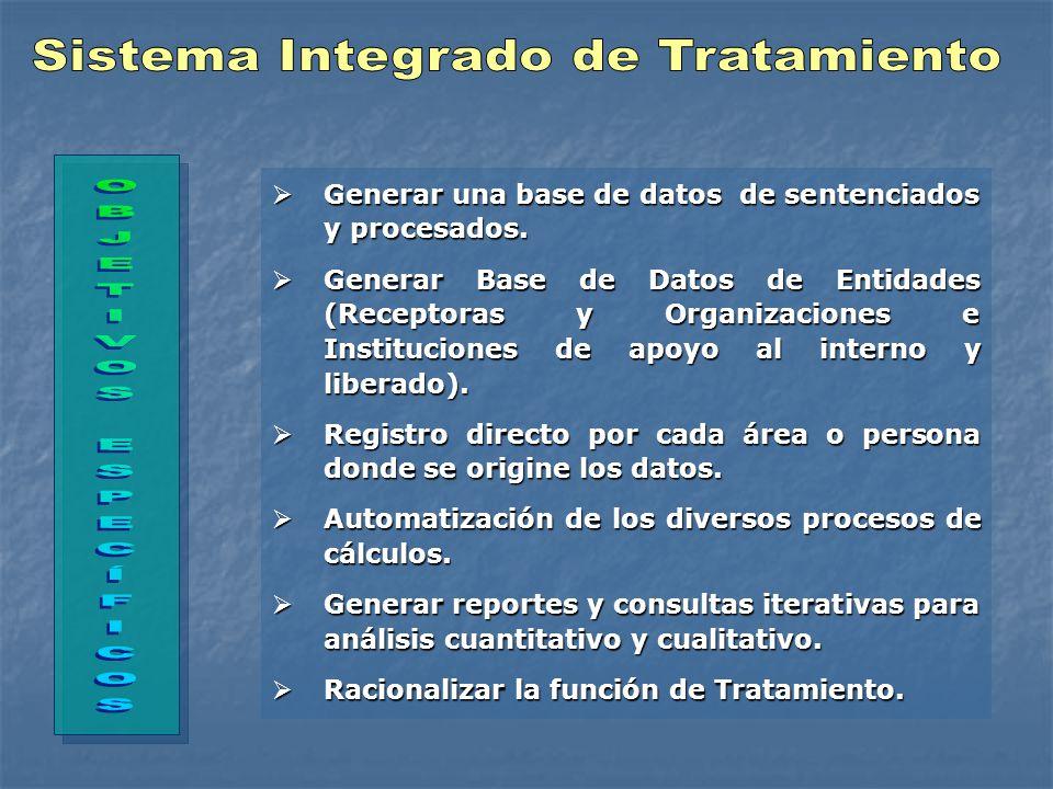 Generar una base de datos de sentenciados y procesados.