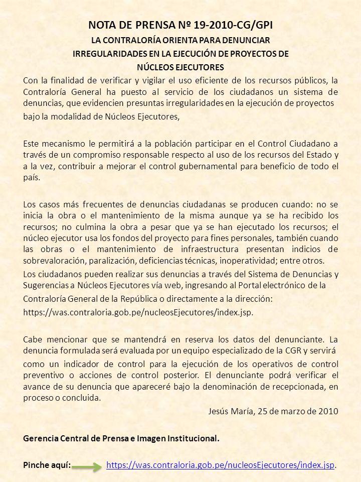 NOTA DE PRENSA N° 20-2010-CG/GPI LA CONTRALORÍA PRESENTA EL PROYECTO DE AUDITORES JUVENILES En el marco de su nueva estrategia de lucha contra la corr