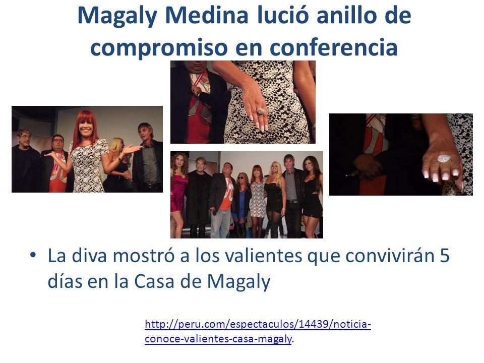 Magaly Medina lució anillo de compromiso en conferencia La diva mostró a los valientes que convivirán 5 días en la Casa de Magaly http://peru.com/espe
