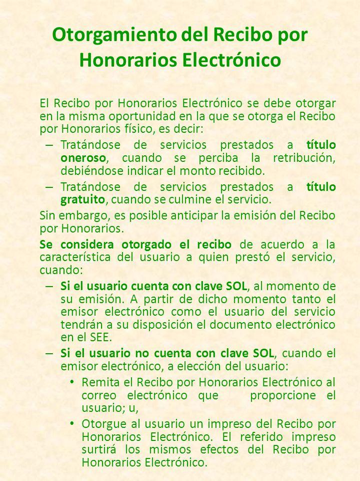 Emisión del Recibo por Honorarios Electrónico.