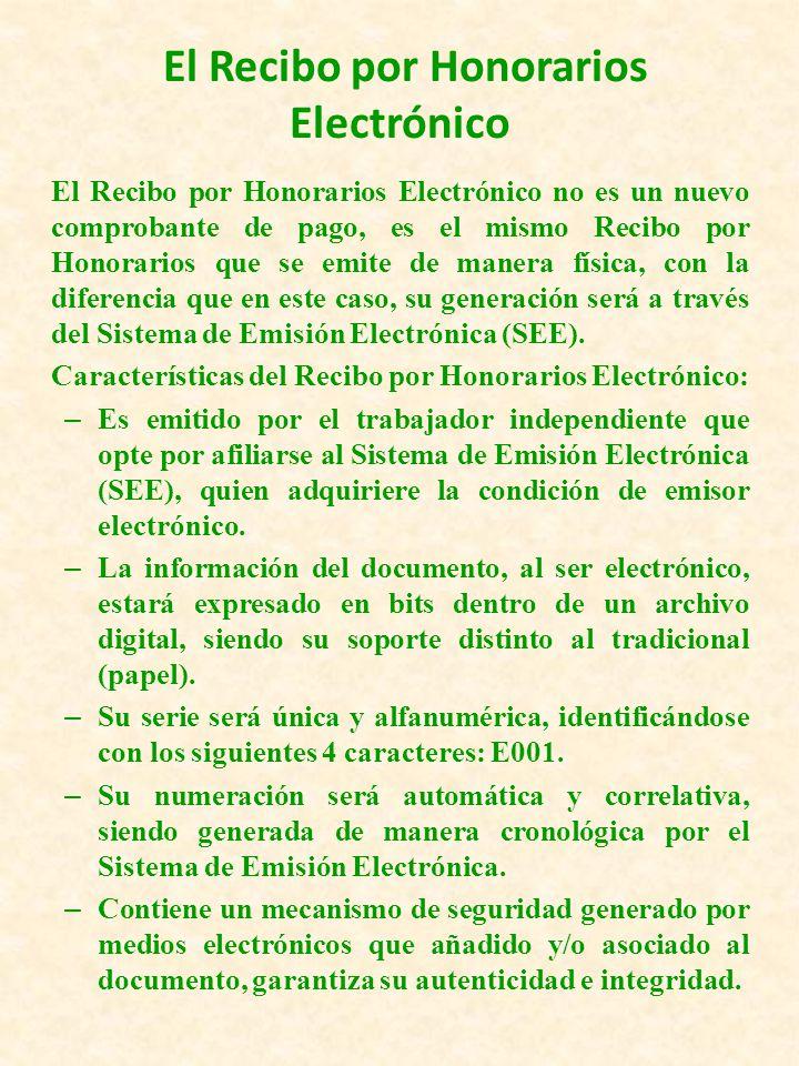 RECIBOS POR HONORARIOS ELECTRONICO SISTEMA DE EMISION ELECTRONICA Es un mecanismo desarrollado por la SUNAT que permite a los contribuyentes que obtienen rentas de cuarta categoría, la emisión de Recibos por Honorarios Electrónicos y Notas de Crédito en forma electrónica y la generación del Libro de Ingresos y Gastos Electrónico.
