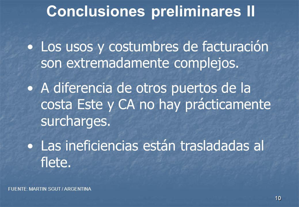 9 Conclusiones preliminares I Los gastos del naviero son una cuarta parte de los del usuario.