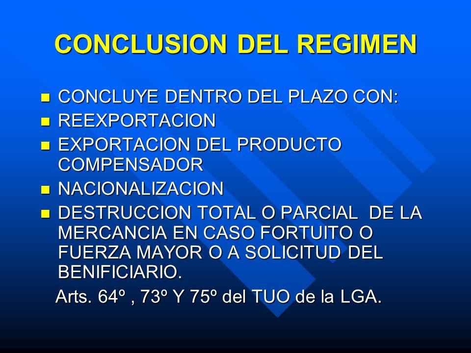 CONCLUSION DEL REGIMEN CONCLUYE DENTRO DEL PLAZO CON: CONCLUYE DENTRO DEL PLAZO CON: REEXPORTACION REEXPORTACION EXPORTACION DEL PRODUCTO COMPENSADOR EXPORTACION DEL PRODUCTO COMPENSADOR NACIONALIZACION NACIONALIZACION DESTRUCCION TOTAL O PARCIAL DE LA MERCANCIA EN CASO FORTUITO O FUERZA MAYOR O A SOLICITUD DEL BENIFICIARIO.