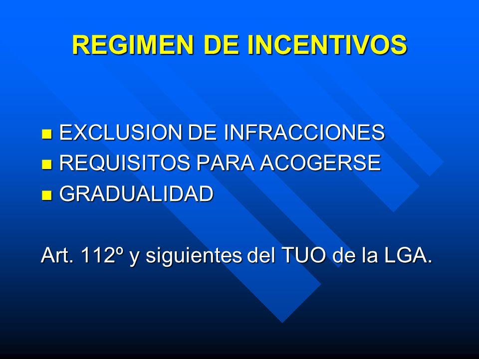 REGIMEN DE INCENTIVOS EXCLUSION DE INFRACCIONES EXCLUSION DE INFRACCIONES REQUISITOS PARA ACOGERSE REQUISITOS PARA ACOGERSE GRADUALIDAD GRADUALIDAD Art.