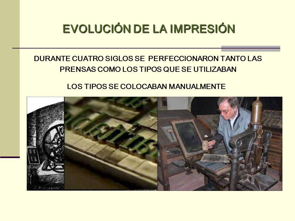 DURANTE CUATRO SIGLOS SE PERFECCIONARON TANTO LAS PRENSAS COMO LOS TIPOS QUE SE UTILIZABAN EVOLUCIÓN DE LA IMPRESIÓN LOS TIPOS SE COLOCABAN MANUALMENT