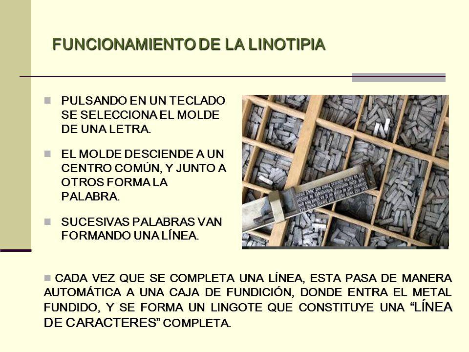 FUNCIONAMIENTO DE LA LINOTIPIA PULSANDO EN UN TECLADO SE SELECCIONA EL MOLDE DE UNA LETRA. EL MOLDE DESCIENDE A UN CENTRO COMÚN, Y JUNTO A OTROS FORMA