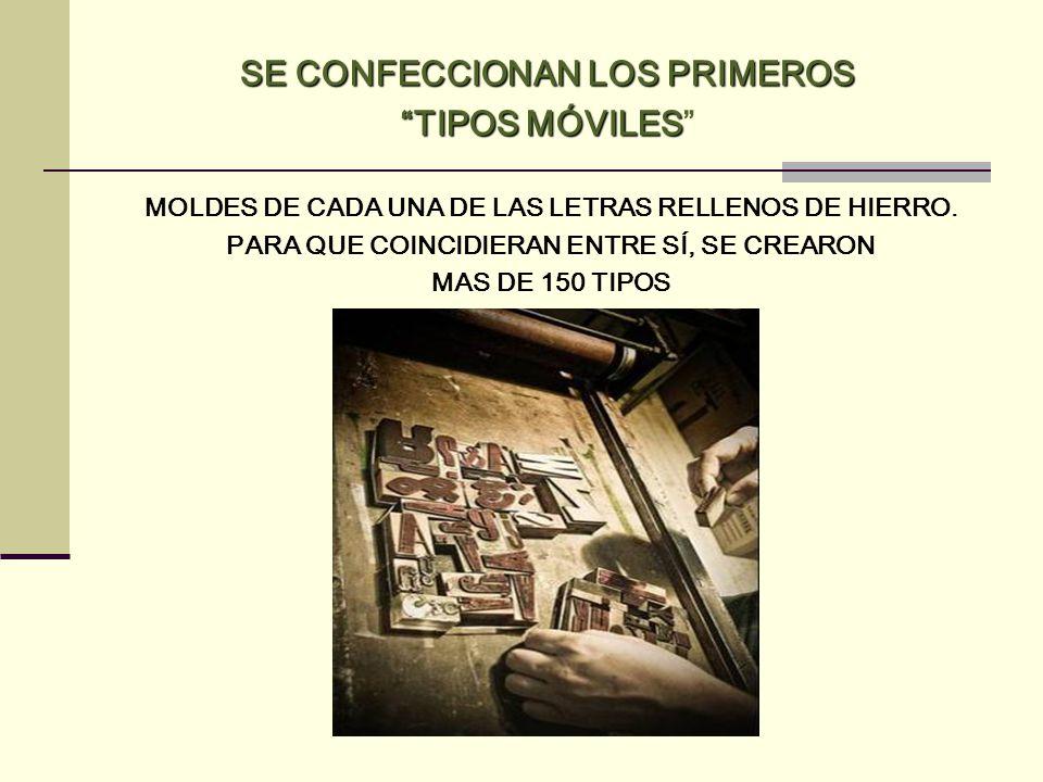 SE CONFECCIONAN LOS PRIMEROS TIPOS MÓVILES MOLDES DE CADA UNA DE LAS LETRAS RELLENOS DE HIERRO. PARA QUE COINCIDIERAN ENTRE SÍ, SE CREARON MAS DE 150