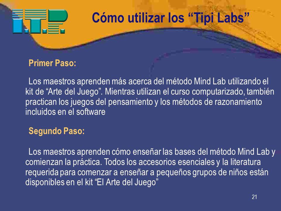21 Cómo utilizar los Tipi Labs Primer Paso: Los maestros aprenden más acerca del método Mind Lab utilizando el kit de Arte del Juego.