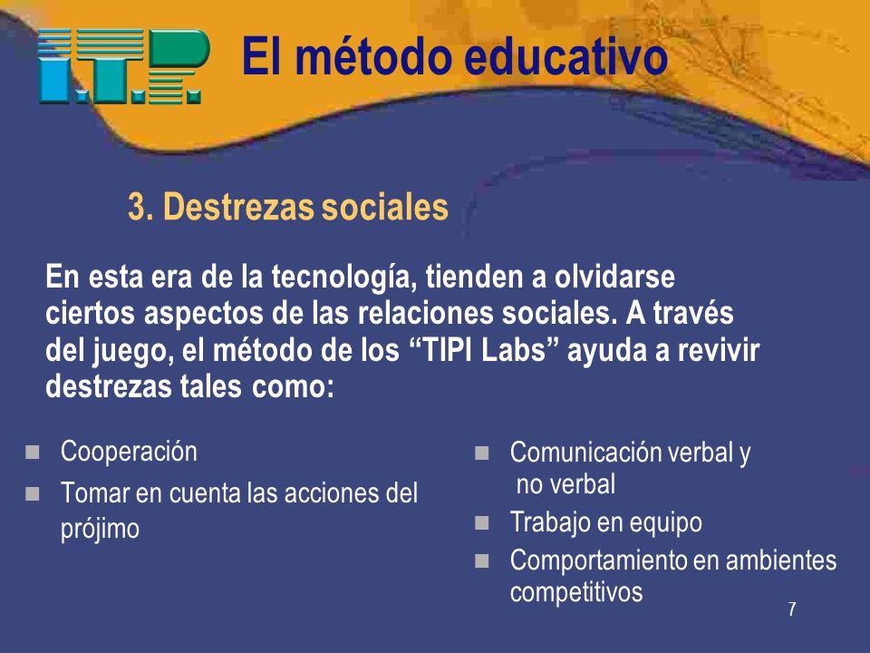 7 Cooperación Tomar en cuenta las acciones del prójimo Comunicación verbal y no verbal Trabajo en equipo Comportamiento en ambientes competitivos 3.