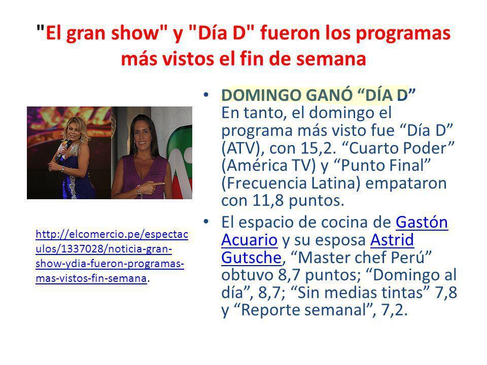 El gran show y Día D fueron los programas más vistos el fin de semana DOMINGO GANÓ DÍA D En tanto, el domingo el programa más visto fue Día D (ATV), con 15,2.