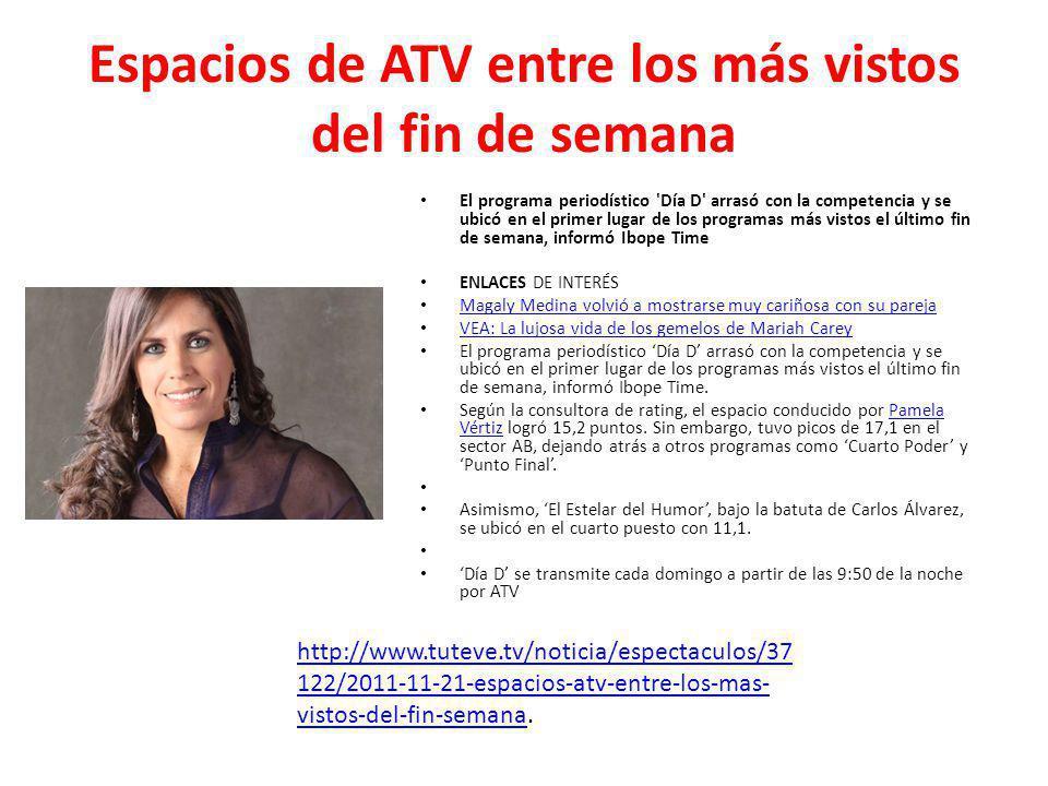 Espacios de ATV entre los más vistos del fin de semana El programa periodístico 'Día D' arrasó con la competencia y se ubicó en el primer lugar de los