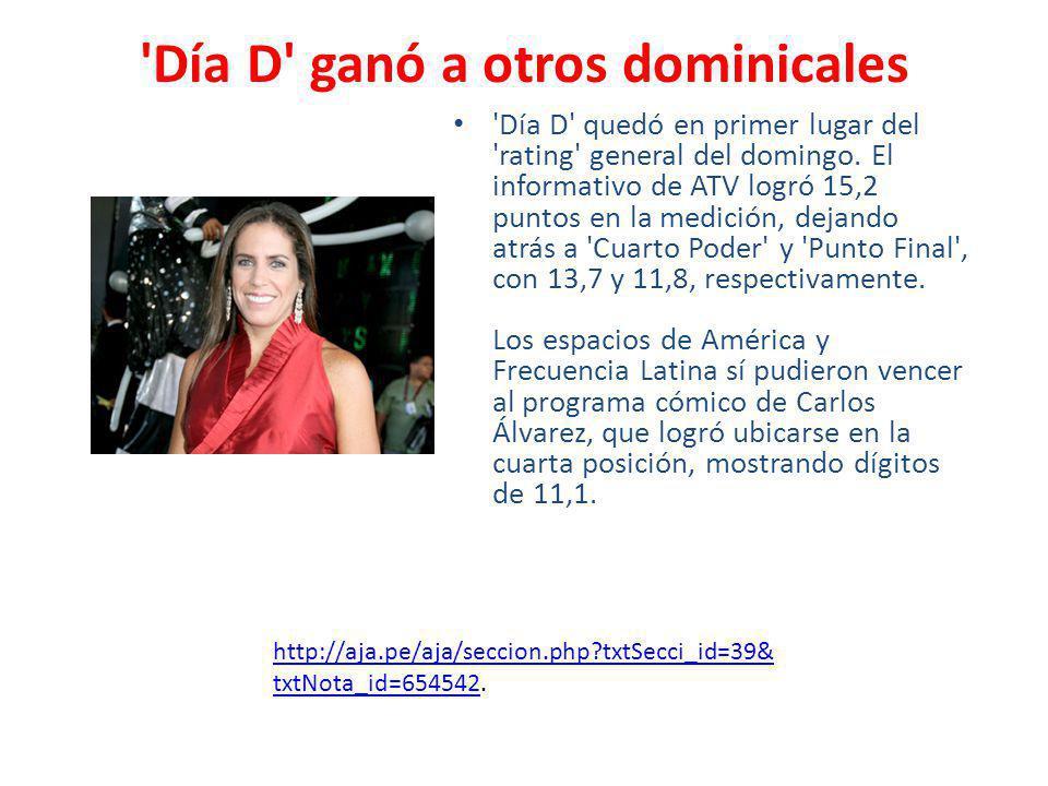'Día D' ganó a otros dominicales 'Día D' quedó en primer lugar del 'rating' general del domingo. El informativo de ATV logró 15,2 puntos en la medició