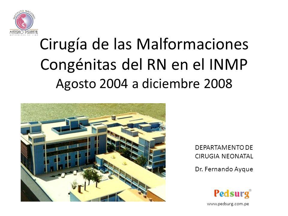 Cirugía de las Malformaciones Congénitas del RN en el INMP Agosto 2004 a diciembre 2008 DEPARTAMENTO DE CIRUGIA NEONATAL Dr.