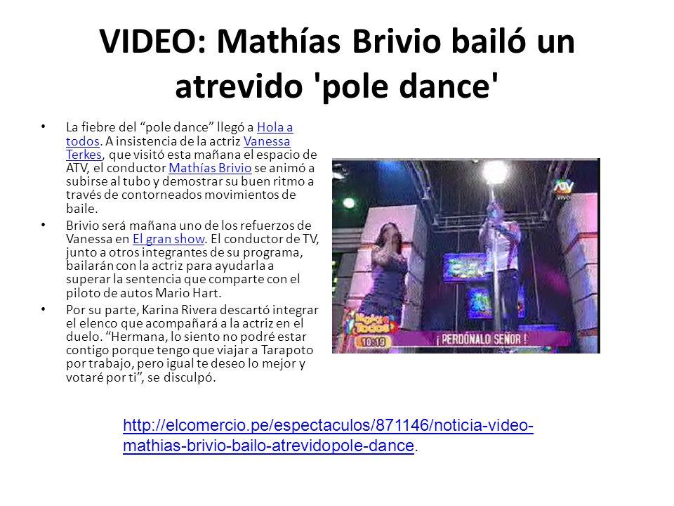 VIDEO: Mathías Brivio bailó un atrevido 'pole dance' La fiebre del pole dance llegó a Hola a todos. A insistencia de la actriz Vanessa Terkes, que vis