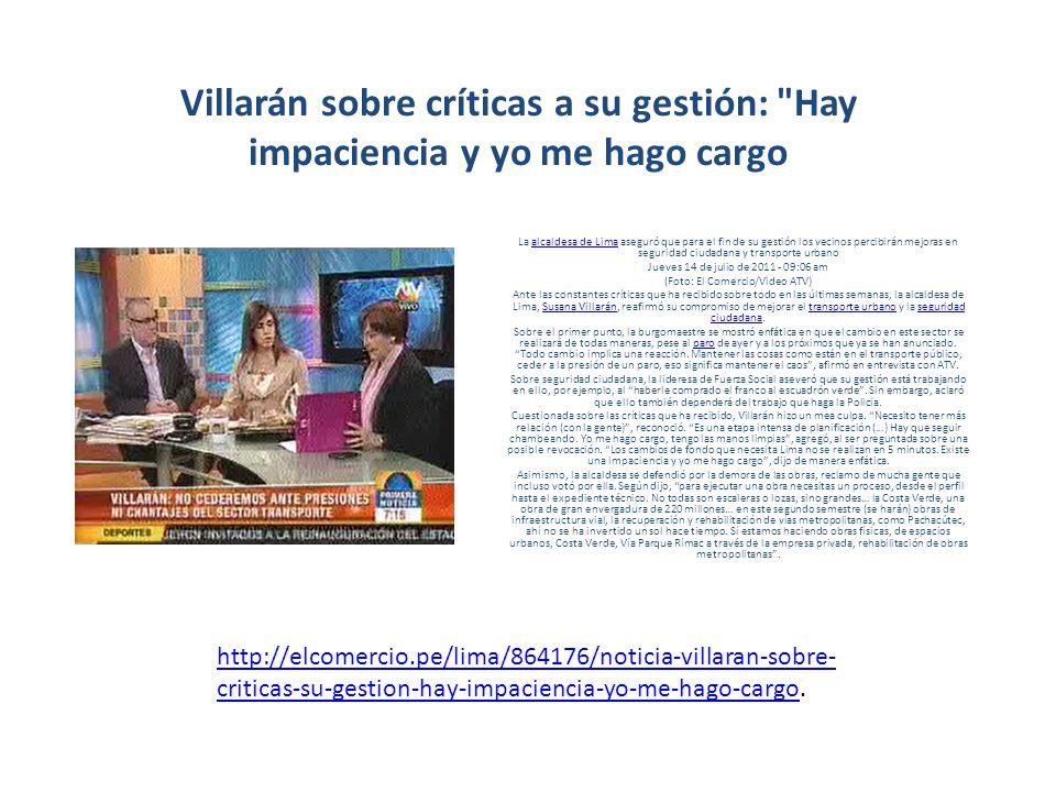 Villarán sobre críticas a su gestión: