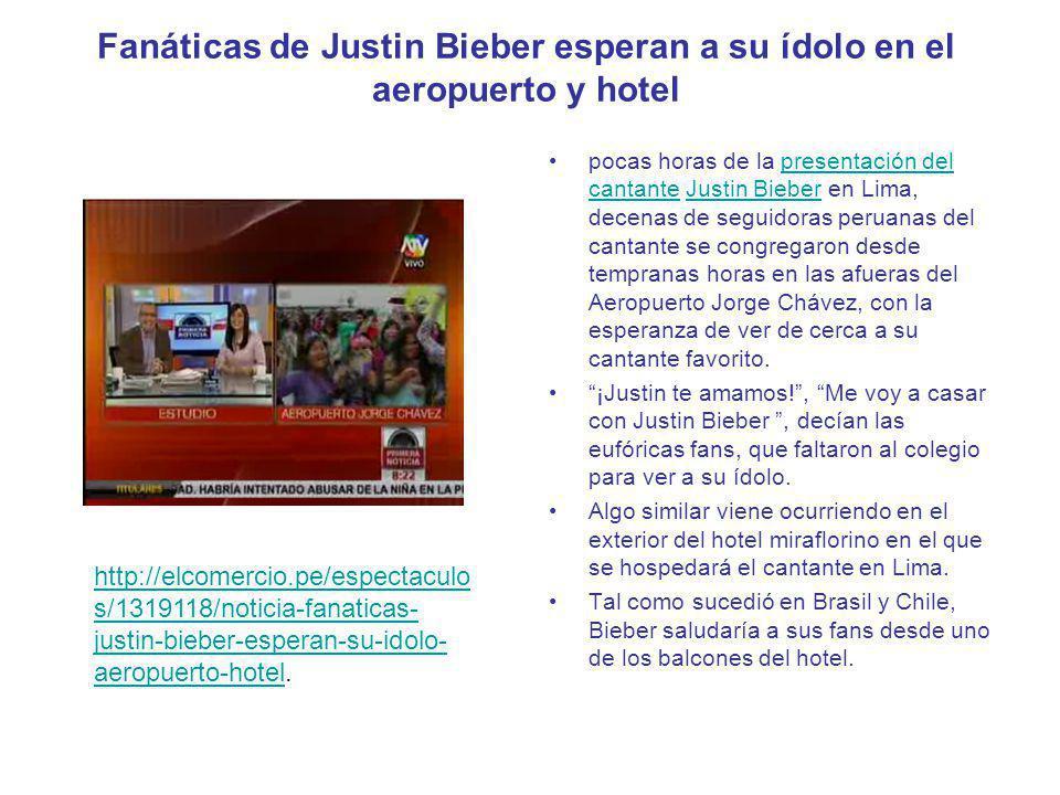 Fanáticas de Justin Bieber esperan a su ídolo en el aeropuerto y hotel pocas horas de la presentación del cantante Justin Bieber en Lima, decenas de s