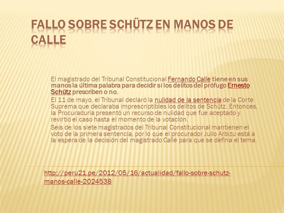 El magistrado del Tribunal Constitucional Fernando Calle tiene en sus manos la última palabra para decidir si los delitos del prófugo Ernesto Schütz p